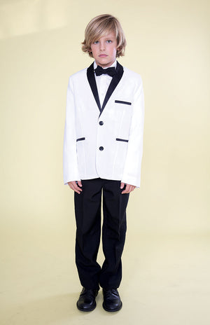 Little Boys Black 4 Pcs Shirt Bow Pants Jacket Slim Fit Tuxedo 2-8