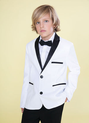 Boys Black 4 Pcs Shirt Bow Pants Jacket Slim Fit Tuxedo Sizes 10-20