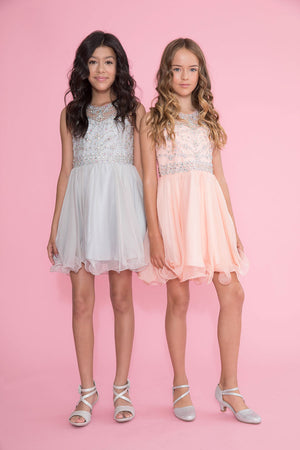 Sleeveless Tween Chiffon Short Dress with Jewel Bodice TY001