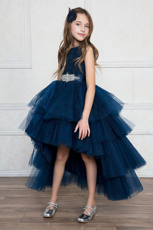 Elegant Hi-Low Multi-Tired Tull with Lace Top Girl Dress for Bridesmaid or Flower Girl