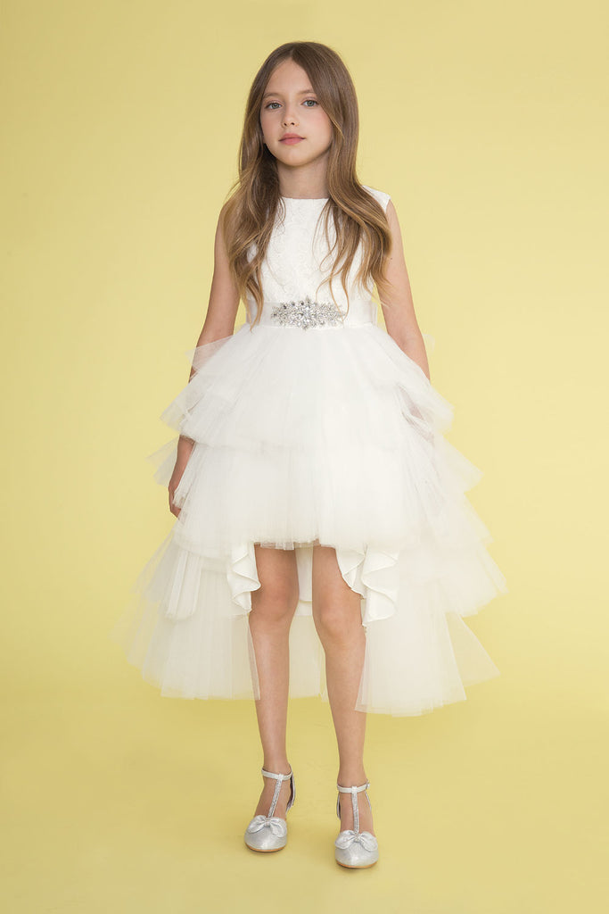 Elegant High-Low Multi-Tired Tull with Lace Top Girl Dress for Bridesmaid or Flower Girl