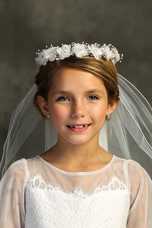White Flower Crown Veil First Communion Flower Girl Accessories Style 038