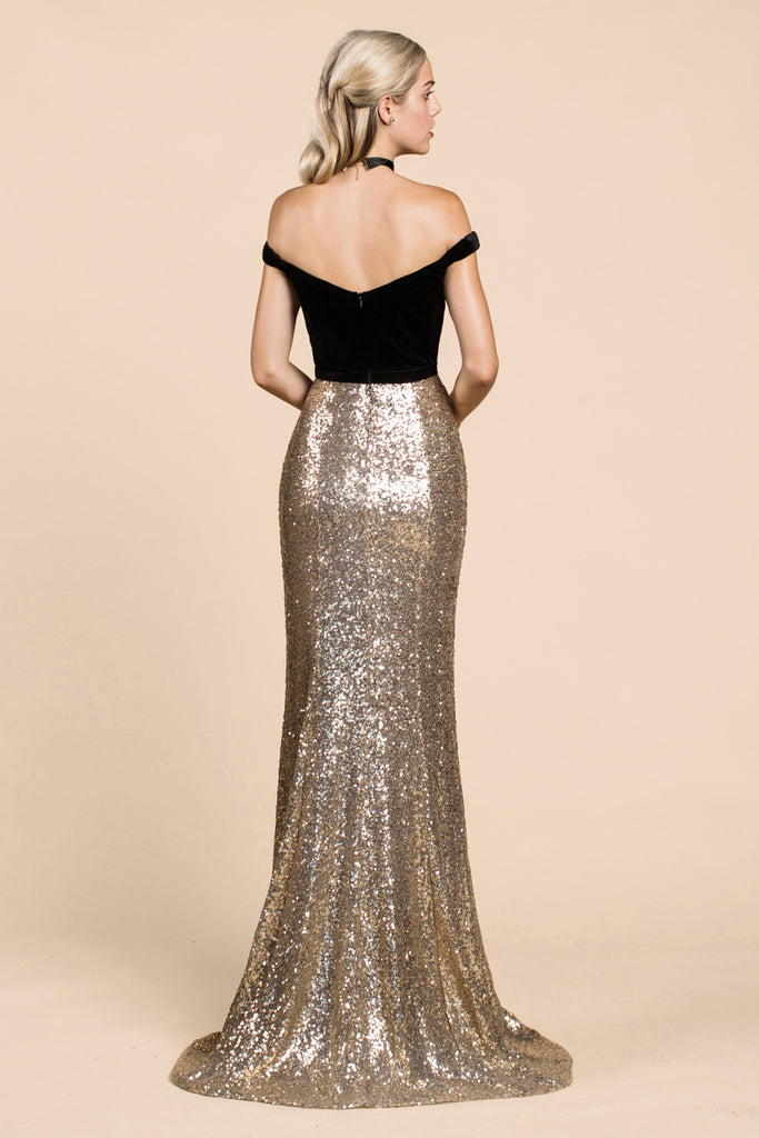 Andrea & Leo A0250 Velvet  Sequin Off Shoulder Evening Dress