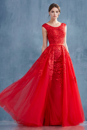 Andrea & Leo A0257 Rouge Lace Portrait Neckline Sheath Evening Gown
