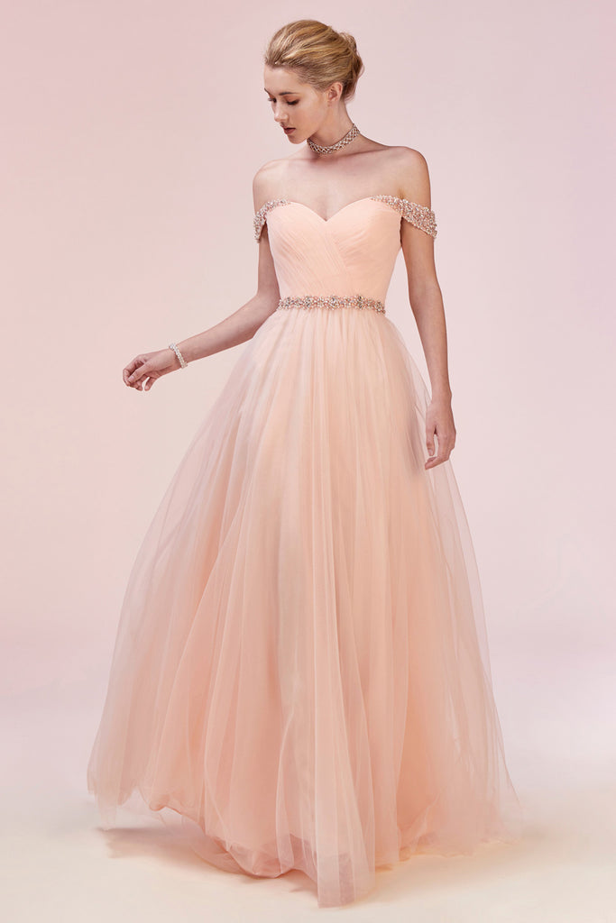 Andrea and Leo A0531 Off Shoulder Tulle Evening Gown