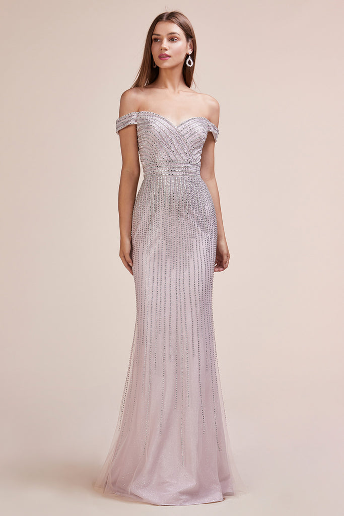 Andrea & Leo A0533 Art Deco Fully Beaded Off the Shoulder Mauve Evening Dress