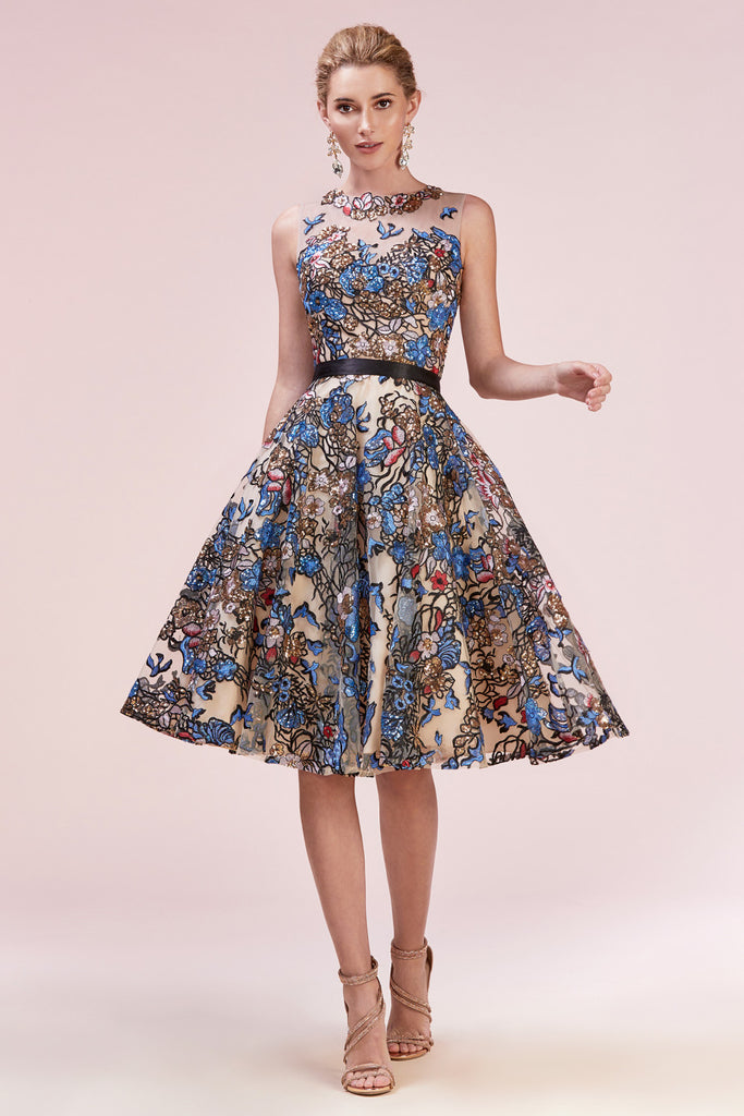6c749b540054 Flirty Multi-Colored Embroidered Tea Length Cocktail Dress – Sparkly ...