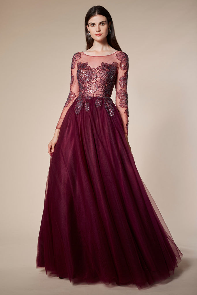 Andrea & Leo Couture A0586 Long Sleeves Hibiscus Lace Tulle Evening Gown