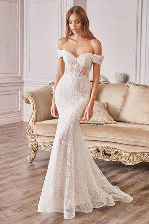 Andrea & Leo Couture A0666W.  Lace off-the-shoulder Mermaid Wedding Gown