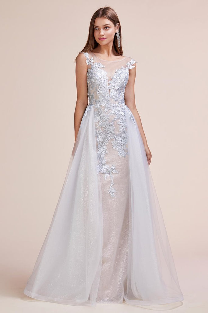 Andrea & Leo Couture A0670 Elegant Ice Blue with Overskirt Evening Gown