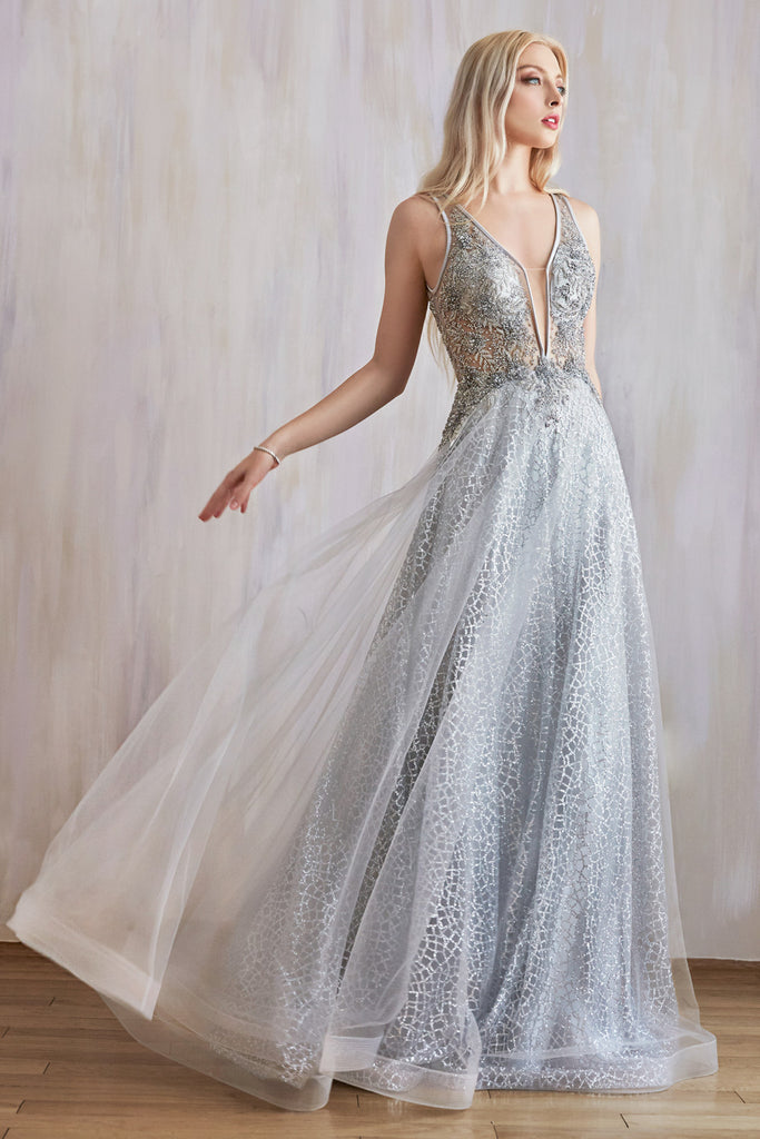 Andrea & Leo Couture A0680 Romantic Vespertine Beaded  Silver  A-line Gown