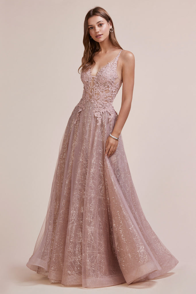 Andrea & Leo Couture A0681 V-Neckline with Glitter Skirt Evening Gown