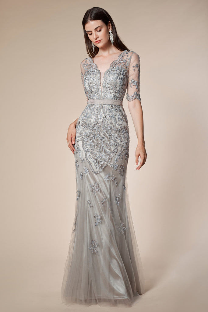 Andrea & Leo A0697. Half-Sleeves Beaded Lace Fit and Flare Gown