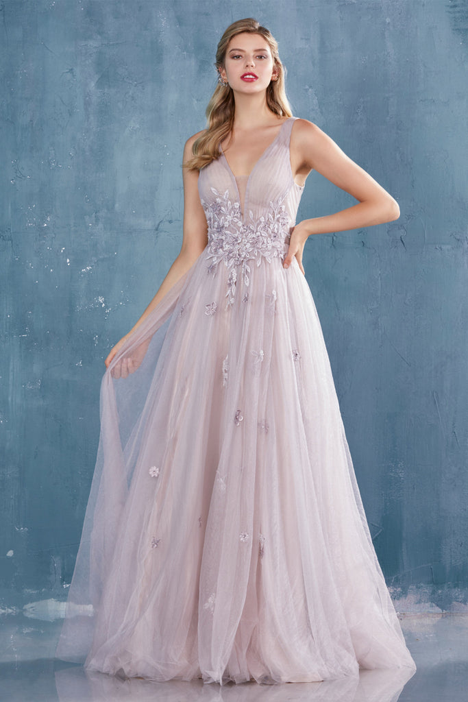 Chloe V-neck Pleated Tulle A-Line Andrea and Leo Couture A0791