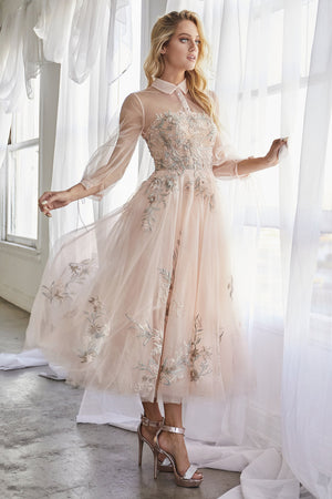 Long Sleeves Embroidered Tulle Tea Length Gown Blush  DUCHESA Andrea & Leo A0862  Blush