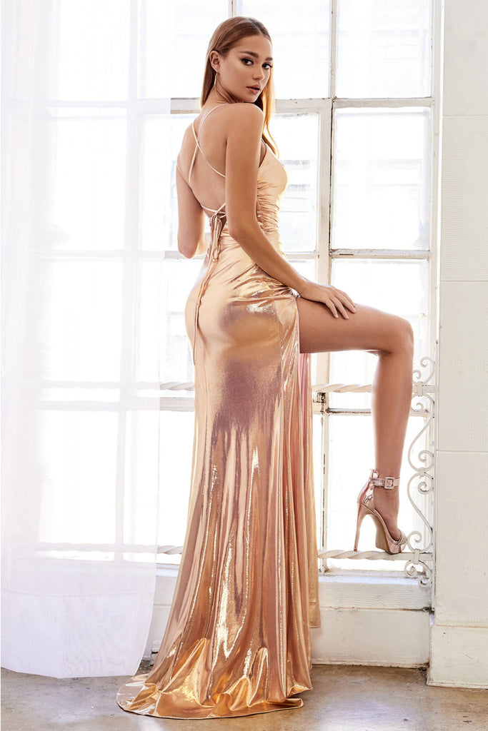 Sexy Metallic Ruched Electra Gold Pink  Andrea &Leo Couture A0921 Evening Gown Prom Dress