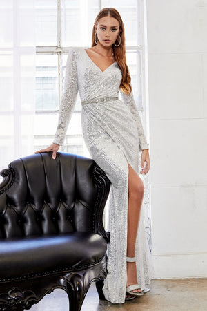 Andrea & Leo A0938 Long Sleeved Ruched Sequined Silver Lydia Evening Gown