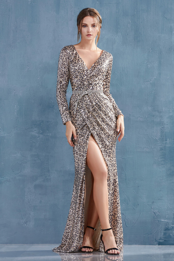 Andrea & Leo A0938B Long Sleeved Ruched Sequined Silver Karina Evening Gown
