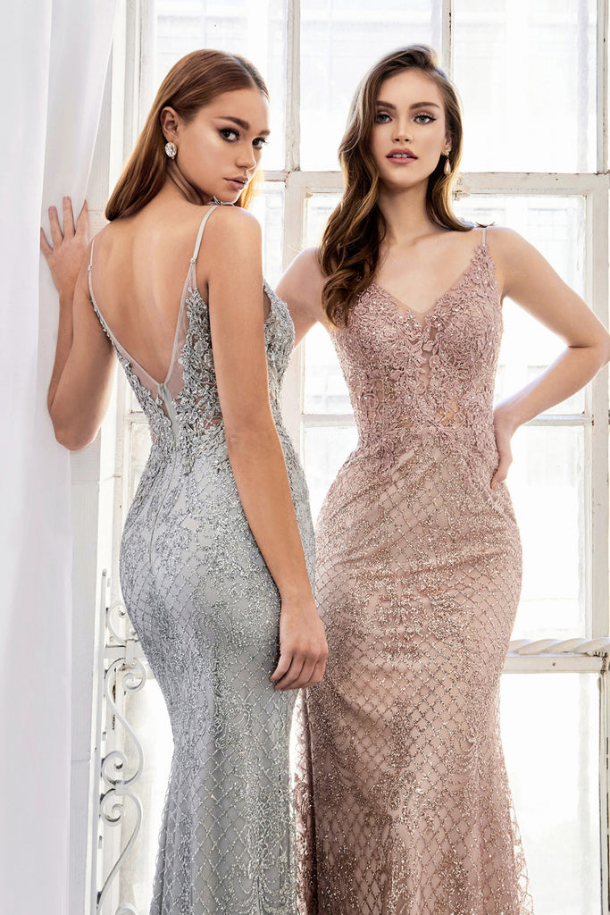 Andrea & Leo A0960 Rose-Gold Frozen Garden Metallic Spaghetti Evening Gown