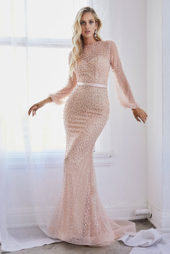 Fully Pearled Long Sleeves Blush  Evening Dress Andrea & Leo A0997