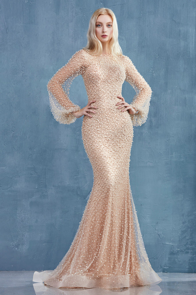 Fully Pearled Long Sleeves Ivory/Nude Evening Dress Andrea & Leo A0997