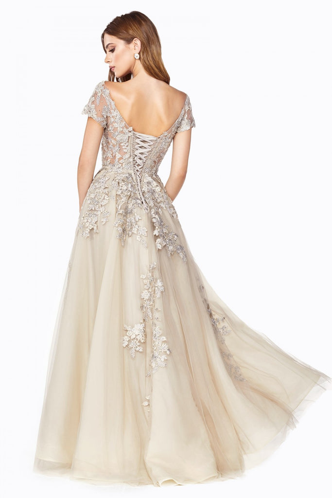 Off-the-Shoulders Corset Champagne  A-line Evening Gown Cinderella Divine C20