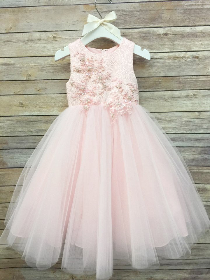 Sumptuous Jacquard Flower Girl, Communion Ball Gown with Tulle Skirt.