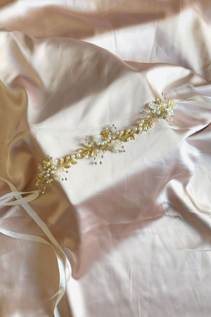 Floral Hair Wine Headpiece or Sash Oh my Golden Sash 127