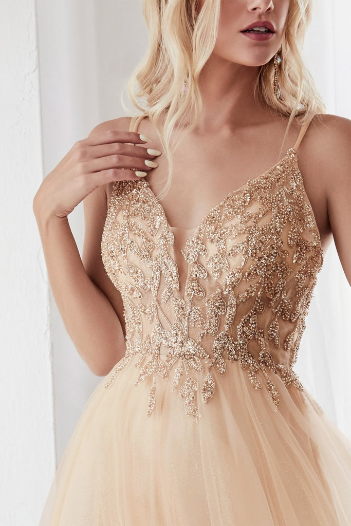 Cinderella Divine CD0154 Beaded and tulle skirt A-line Champagne dress.