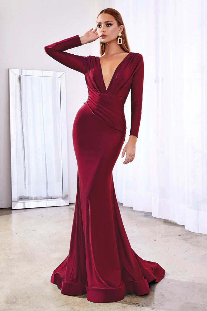 Fitted Jersey Long Sleeves Open Back Burgundy Evening Gown CD0168