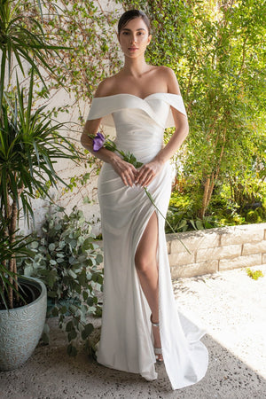 Off the Shoulder Matte Satin Civil Wedding Gown CD930