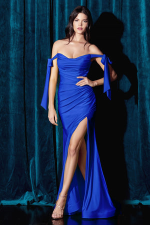 Stretch Luxe Jersey  Ruched Royal Evening Gown CD943Y