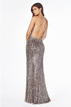 Fitted Sequin Gown Leg Slit Evening Gown Style 345.