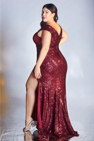 Fitted Sequin Cap Sleeves V-Neckline Curves Evening Gown Cinderella CH198C