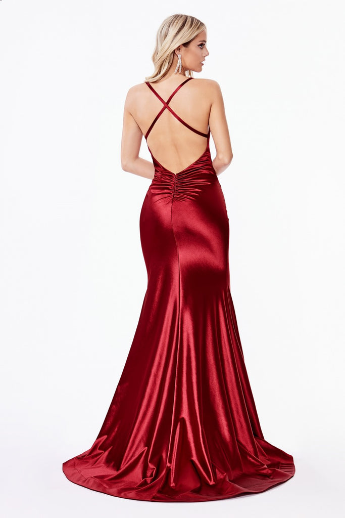 Fitted Stretch Satin Gathered Waistband Red Evening Gown CH236R
