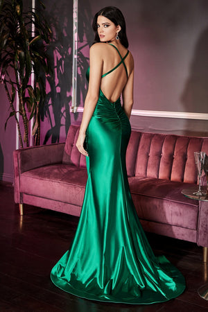 Open Back Satin Dress