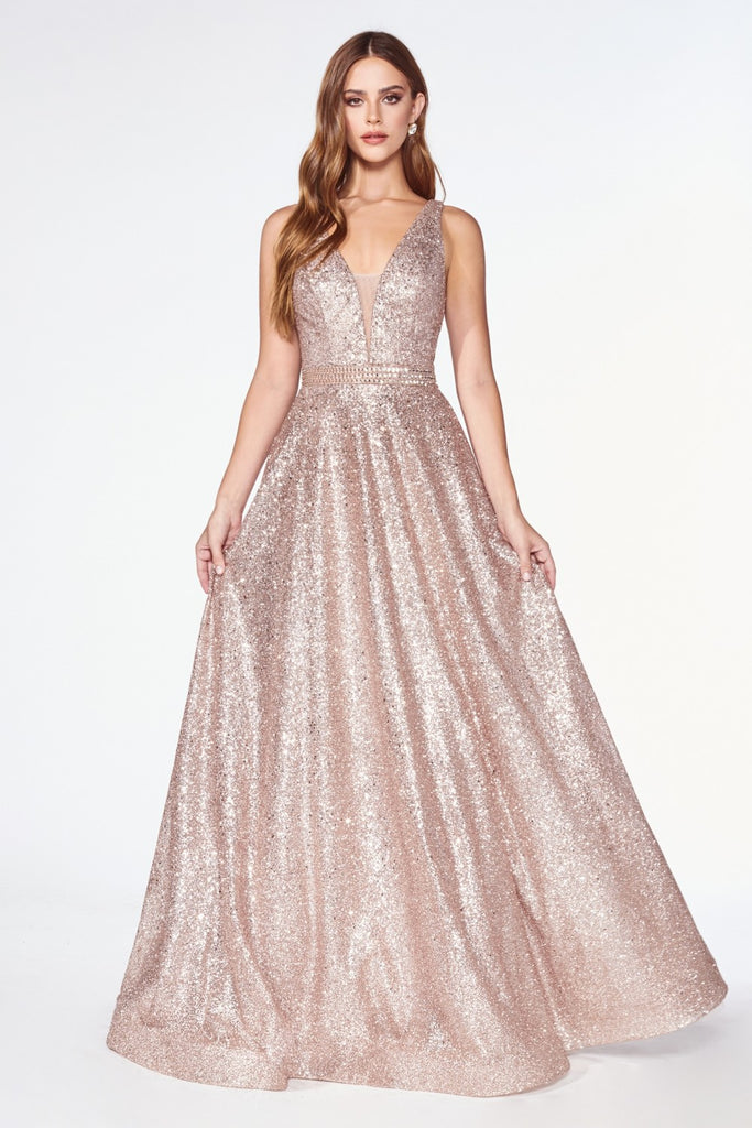A-line Glitter Gown with Deep Plunge Neckline and Beaded belt.