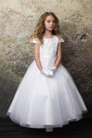 Cap Sleeves  Satin and Tulle Skirt  Communion Flower Girl Gown 331
