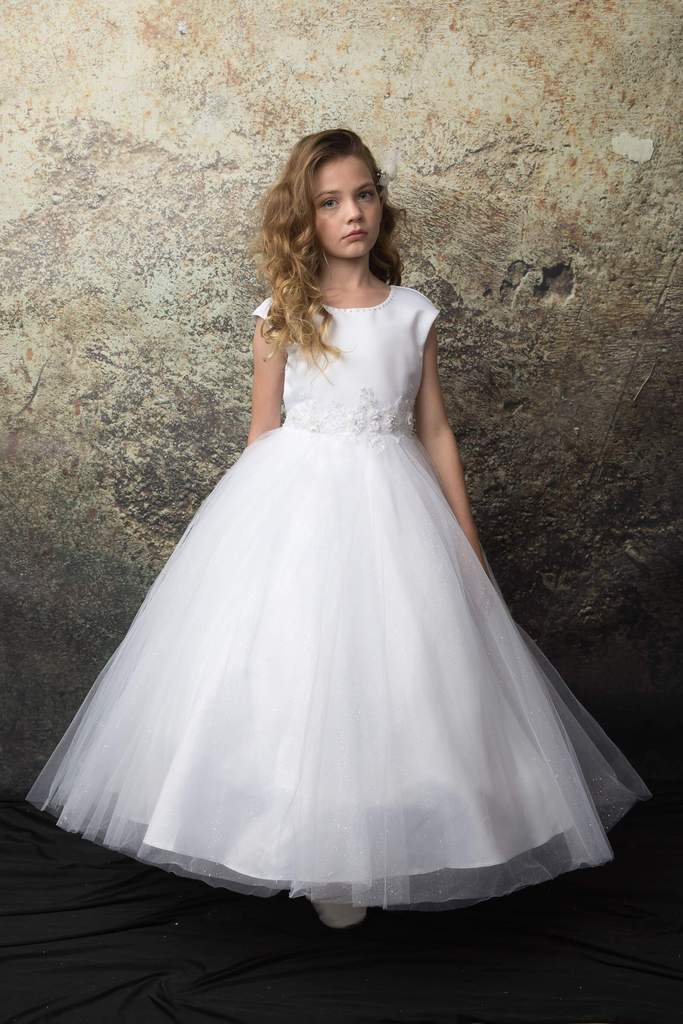 3D Embroidery Satin and Tulle Skirt  Communion Flower Girl Gown C330