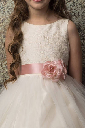 Tea Length Lace and Tulle Flower Girl Nicholle Dress 304
