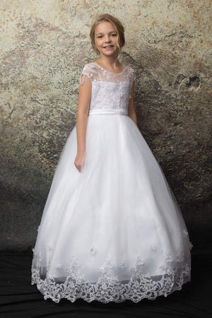 ON SALE  Floral Embroidery Multi-Layer Tulle Communion Flower Girl Dress C332