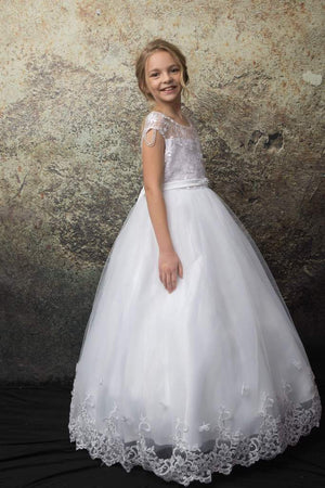 Floral Embroidery Multi-Layer Tulle Communion Flower Girl Dress C332