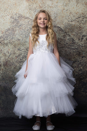 The Lavish Multi-Tiered Tutu Tulle White First Communion Dress 324wh