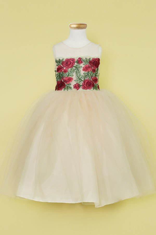 Red Rose Flowers on Top Embroidered Applique Flower Girl Dress