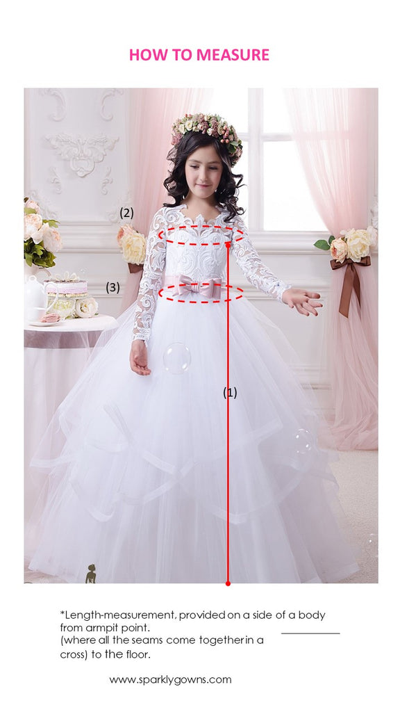 Long Sleeves A-line Princess Flower Girl Dress  Communion Gown Celestial 3142