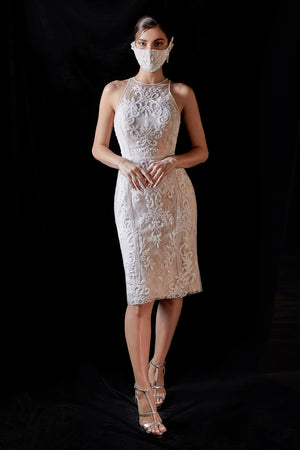 Cocktail Lace Andrea & Leo Couture A0722S Off-white Midi Eleanor DRESS