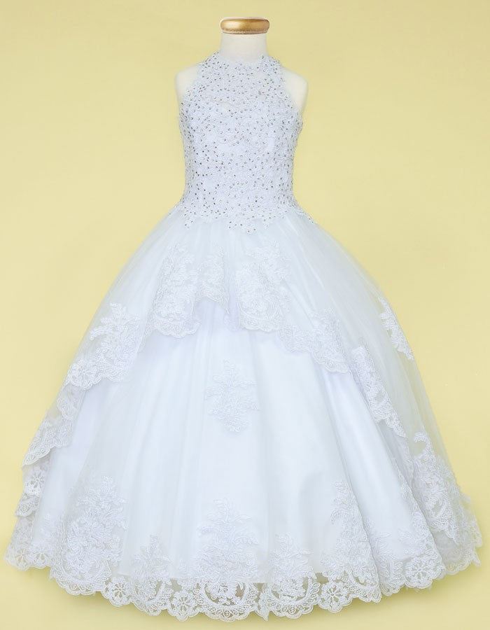 FLOWER GIRL - PAGEANT MULTI COLOR EMBROIDERY LACE BALL GOWN DRESS
