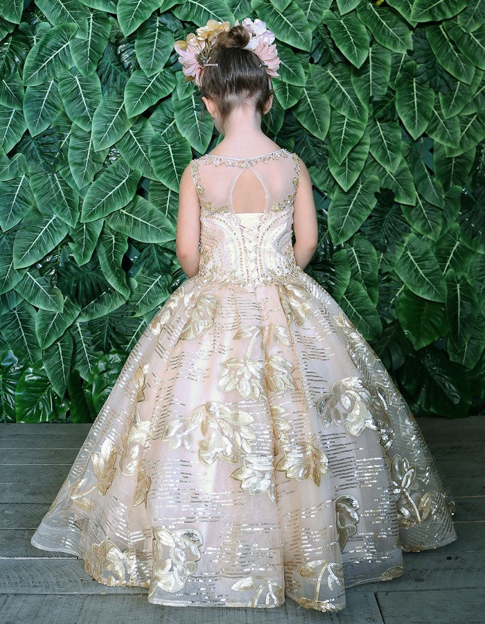Pageant Flower Girl Sequin Ball Gown