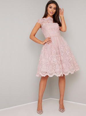 CAP SLEEVE BAROQUE STYLE COCKTAIL MIDI DRESS  MINK