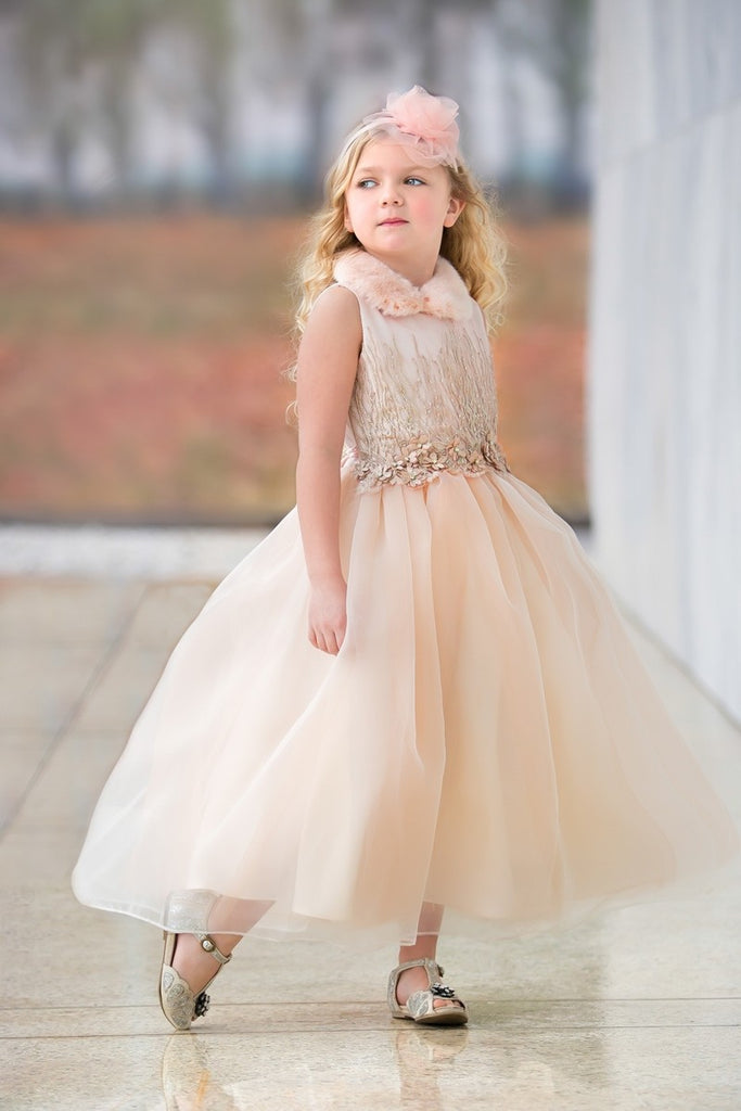 3D Applique Top Satin and Organza Skirt Children dress